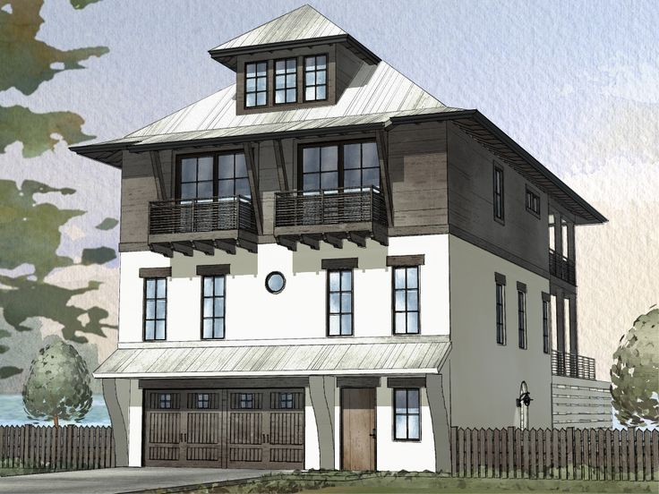 ordinary narrow house plans with garage underneath #7: Narrow house with garage under