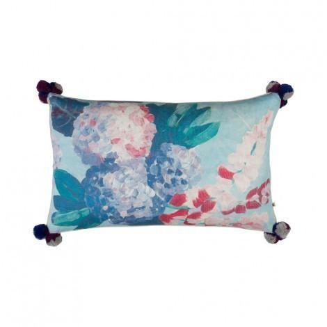 Painted Hydrangea Multi Cushion | 75x45cm | Bonnie & Neil – Salt Living or online at www.saltliving.com.ay #saltliving #bonnieandneil #screenprinting #linen #handmade #cushion