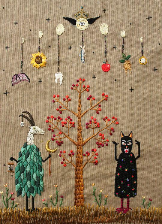 Spring Ritual, embroidery by İrem Yazıcı (Baobap Handmade)