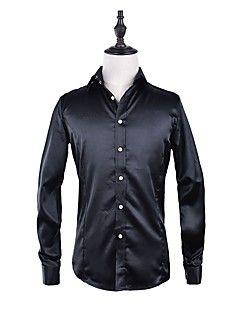 Masculino+Camisa+Social+Casual+Simples+Outono,Sólido+Algodão+Colarinho+de+Camisa+Manga+Longa+–+BRL+R$+43,55
