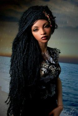 Such inviting eyes....can't believe this is just a doll. Black Barbie with natural hair -dreadlocks, very cute! http://www.shorthaircutsforblackwomen.com/4-natural-hair-black-doll-companies-boost-black-girls-self-esteem/