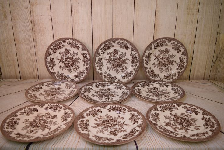 Set of 9 Royal Stafford Asiatic Pheasant Brown Dinner Plates