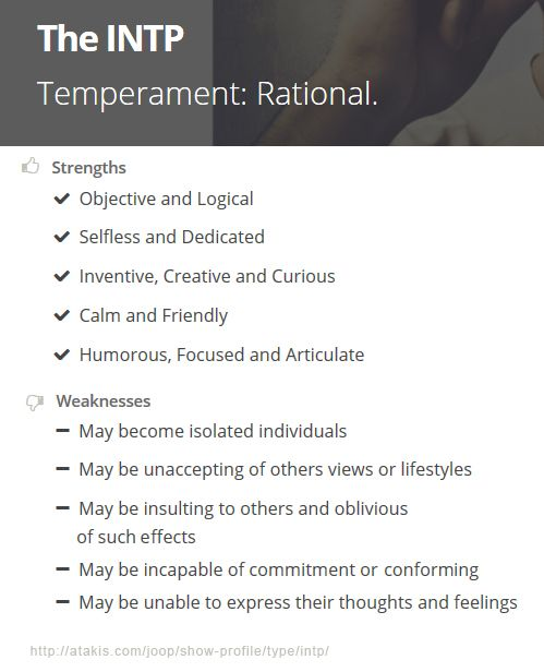 INTP Strengths and Weaknesses\u003e\u003eWoah,this is actually a description