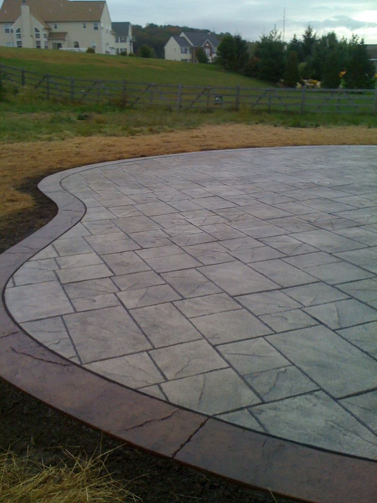 stamped concrete stamped concrete patio w border - Stamped Concrete Design Ideas
