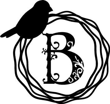 Bird Wreath Monogram Wall Decal Vinyl Home Decor Sticker