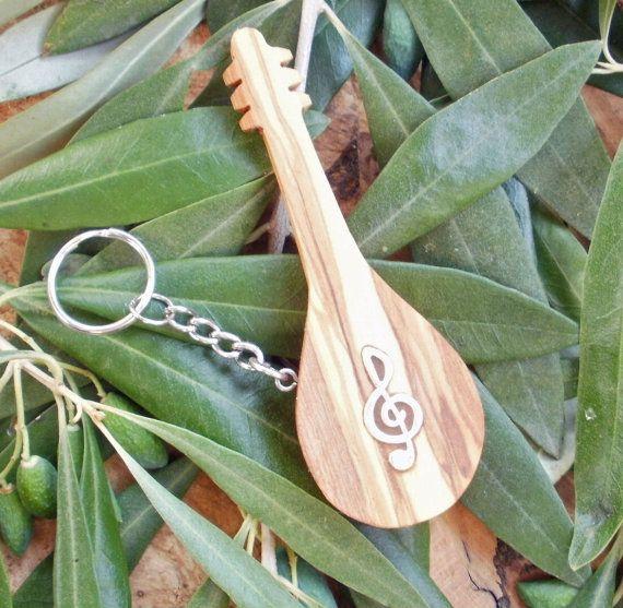 Greek Olive Wood musical key chain bouzouki by ellenisworkshop