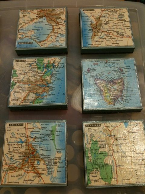 Coasters made from leftover wood scraps and pieces cut from an old map.: Wood Work, Wood Scraps, Leftover Wood