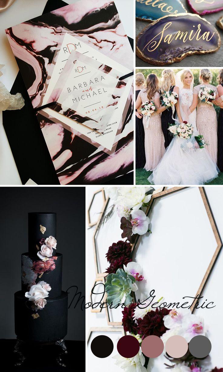 Modern black blush and burgundy wedding inspiration. New color trends 2017 - Unique wedding invitation sample - Modern wedding invitation with marble effect {Jasmine design - Sku: JasPin01}