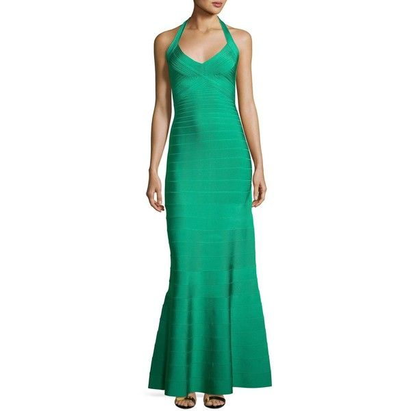 Herve Leger Halter Bandage Mermaid Gown (€1.535) ❤ liked on Polyvore featuring dresses, gowns, green, green evening gown, green bandage dress, bandage dress, v-neck dresses and graduation dresses