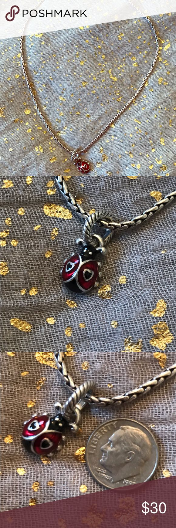 """Brighton 20"""" Ladybug Necklace Brighton 20"""" Ladybug Necklace, Silver Necklace with silver ladybug charm, 20"""" including clasp, Good Condition, Also included GWP: Brighton 10"""" Silver Ladybug Anklet Brighton Jewelry Necklaces"""