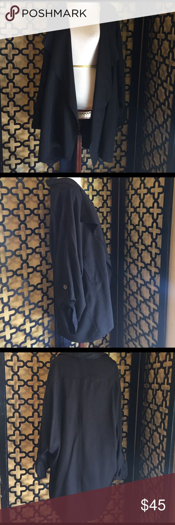 LEITH BLACK TRENCH  DUSTER EUC! No rips or stains. Recently dry cleaned. Gorgeous to add to any outfit! Not your average blazer! It is ovwr sized to add flattering length to your outfit. Measurements: 35in long, 25in sleeve length and 60in bust. Fits up to a size 14. This runs big. leith Jackets & Coats Blazers