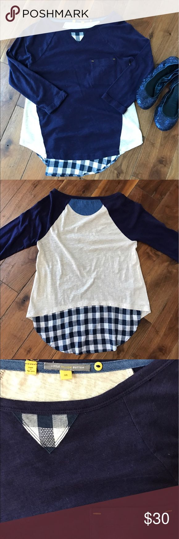 Little yellow button top! 🌼 Anthropologie brand Gingham / navy blue Anthropologie top Anthropologie Tops Tees - Long Sleeve