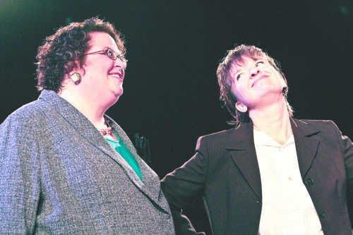 Priscilla McRoberts as Richard Roma and Charlotte VanVactor as Baylen in WIT's 2012 production of Glengarry Glen Ross.
