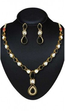 Black Color American Diamond Work Artificial Jewellery Necklaces Set   FH500676597 Follow us @heenastyle  #Necklace #onlineshopping #necklaceset #forsale #gold #artificial #goldplated #designs #fashion #jewelry #fashionjewellry #accessories #womenfashion #pendentset #earing #jumkis #bangle #bracelets #mangalsutra #tikka #headpieces #handbags #cluethesbeg #ring #indianfashion #fashionista #anklets #bridelset #weddingset #dimondset #brass #metal #heenastylenecless #heenastyle