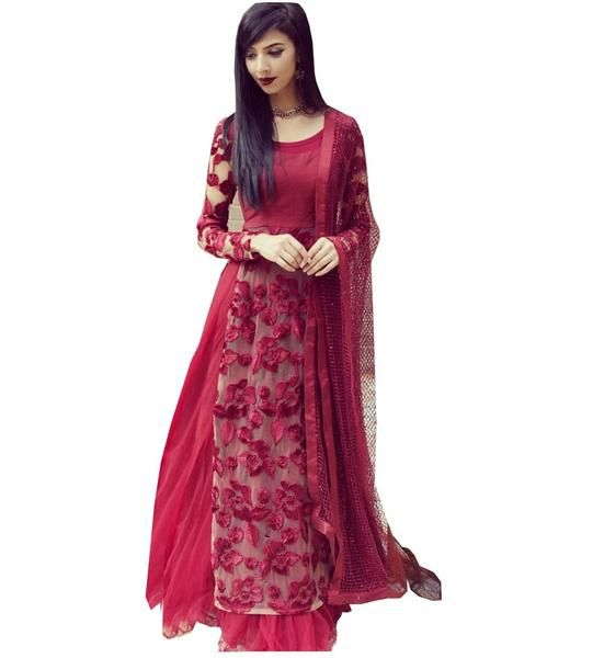 LadyIndia.com # Dress Material, Net Thread Work Maroon Semi Stitched Lehenga Style Suit - MW01, Unstitched Suit, Salwar Suit Duptta Set, Dress Material, https://ladyindia.com/collections/ethnic-wear/products/net-thread-work-maroon-semi-stitched-lehenga-style-suit-mw01