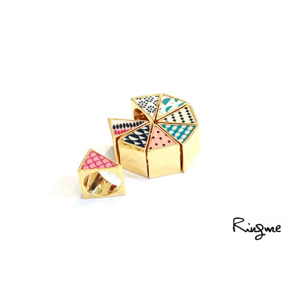 triangle rings from ringmecollection on etsy