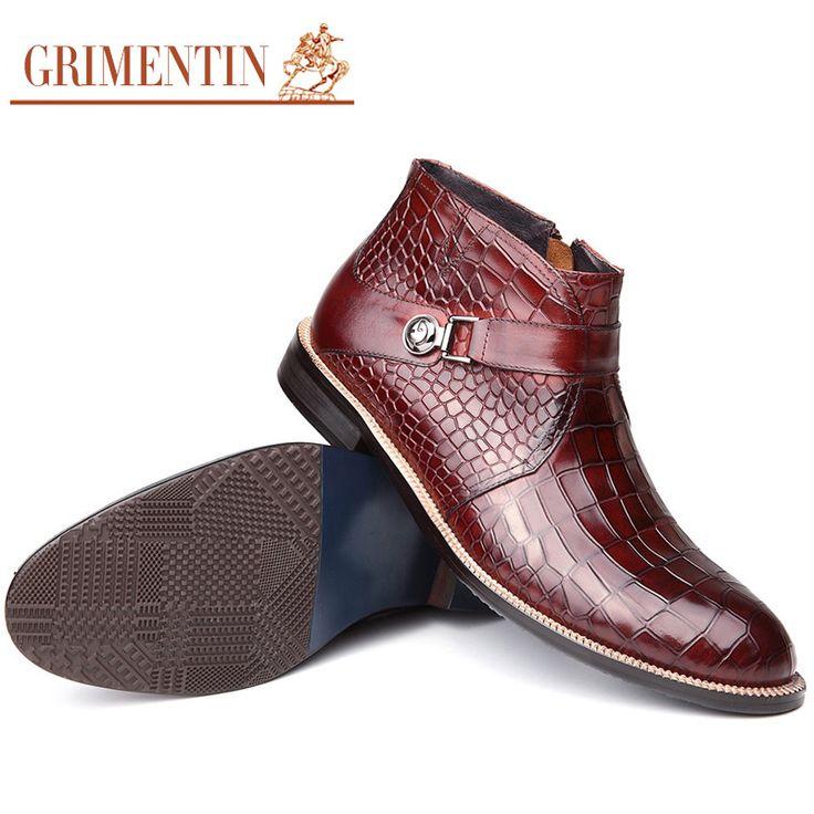 GRIMENTIN moda kovboy tarzı kış ayakkabı erkekler ayak bileği çizmeler deri…