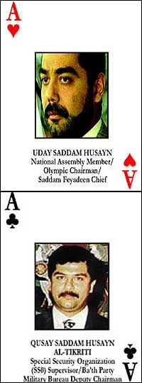 2003: Saddam's sons killed in gun battle The United States says the two sons of Saddam Hussein, Uday and Qusay, have been killed by US troops in Iraq.Qusay, 36, was being groomed as Saddam Hussein's heir, and controlled key areas of the country's security. Uday, 39, ran large sections of the media. He was known for his extreme brutality and for the extravagance of his playboy lifestyle. The two men have been on the run since the collapse of Saddam Hussein's regime three months ago.