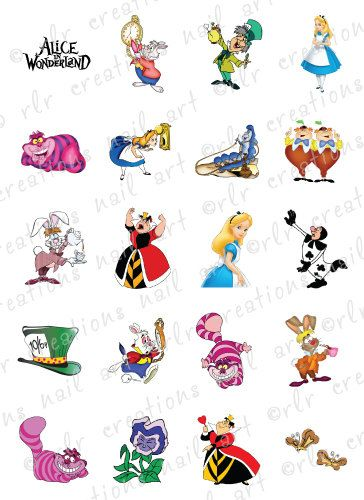 20 Nail Decals Disney ALICE IN WONDERLAND Themed ...