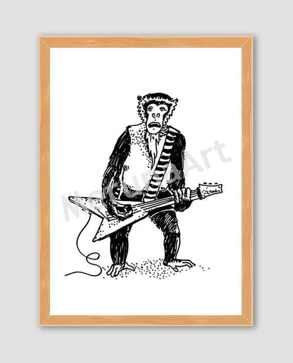 Rocker Monkey Drawing Download Printable Art by MerunaArt on Etsy #monkey #drawing #arctic #monkeys #alex #turner #guitarist #guitar #animal #illustration #goatee