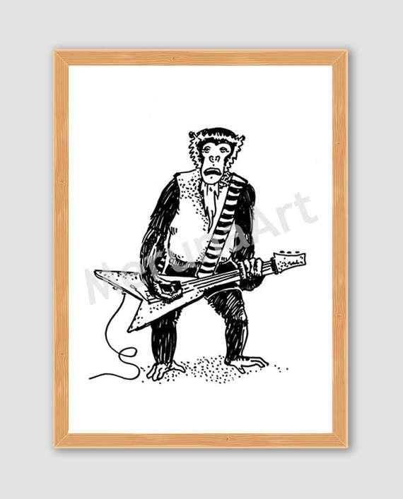 Rocker Monkey Drawing Download Printable Art by MerunaArt on Etsy #monkey #drawing #arctic #monkeys #alex #turner #guitarist #guitar #animal #illustration #goatee