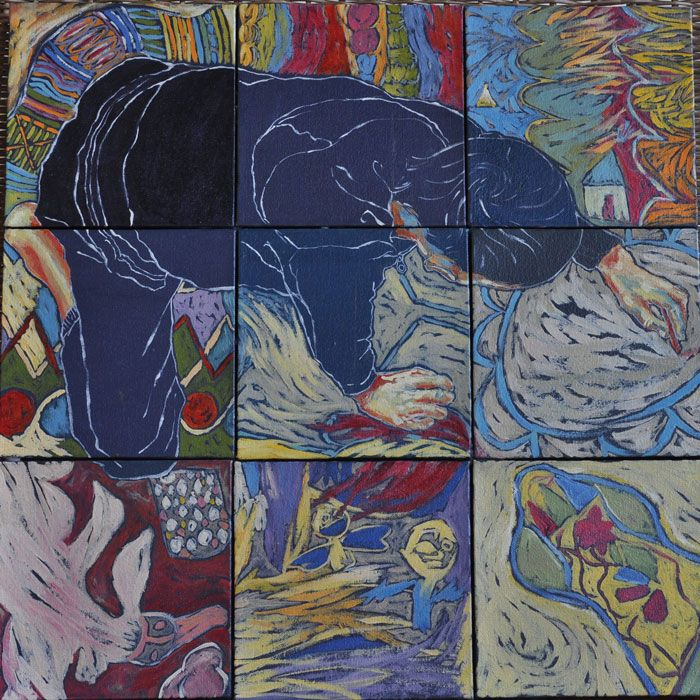 The Boy and The Flying Duck (oil on canvas, square mosaic 9 X  : 150X150mmX22mm)   by Lisl Barry  www.lislbarry.co.za as part of the Prince Albert Pavement Art Project #pa_rt