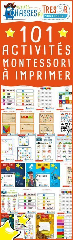 101 Montessori Activities to print for free for children from 3 years to 14 years. Educational activity kits for children