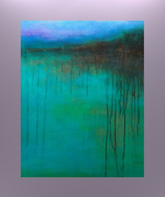 """Contemporary BLUE Abstract Landscape Painting Acrylic on Gallery Deep Canvas Fine Art - """"The Reason to Stay"""""""
