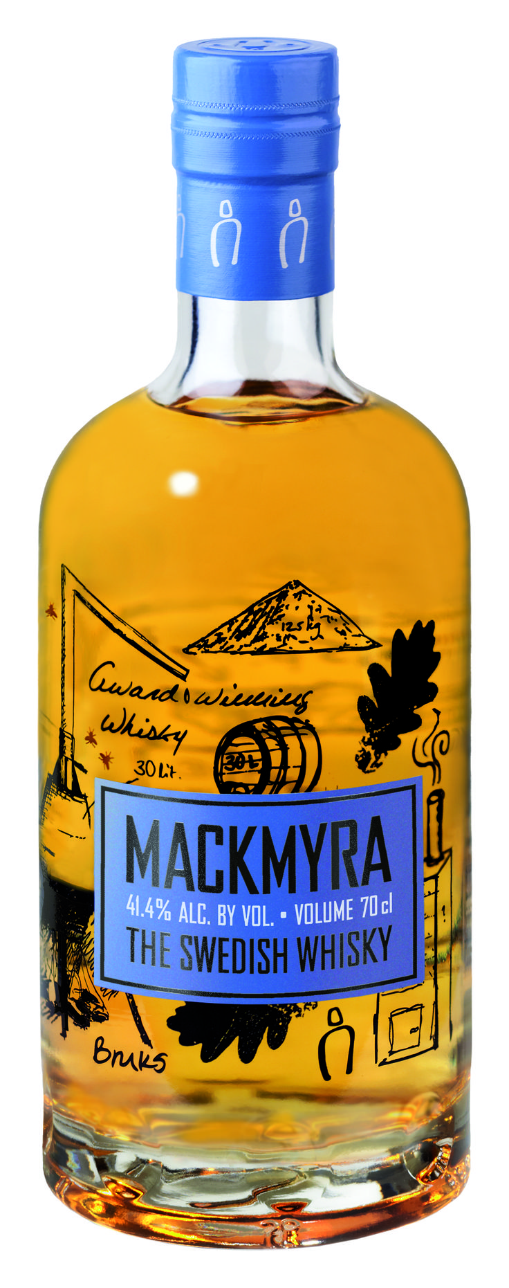 Mackmyra Swedish whisky, hand-drawn illustrations and a simple label