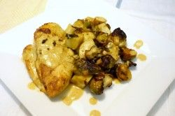 Pan Roasted Curry Chicken with Sweet Potatoes and Brussel Sprouts