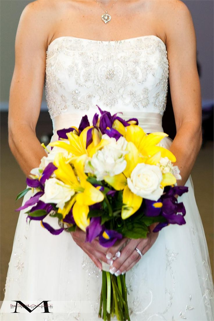 Dill's Summer Sun Yellow Lily and Purple Iris Bridal Bouquet
