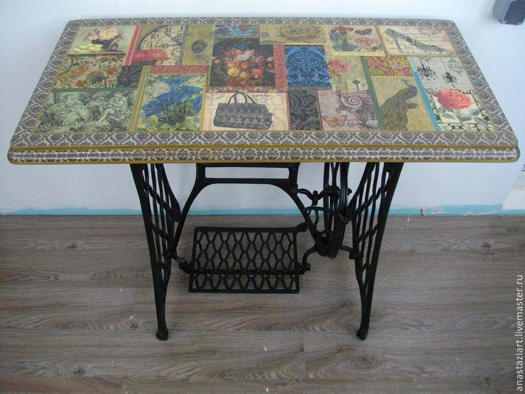 """Купить Оригинальный стол """"Этюд в темных тонах"""""""" - черный, стол, столик, стол из швейной машинки"""
