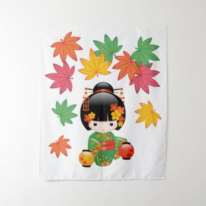 Fall Kokeshi Doll - Green Kimono Geisha Girl Tapestry - girl gifts special unique diy gift idea