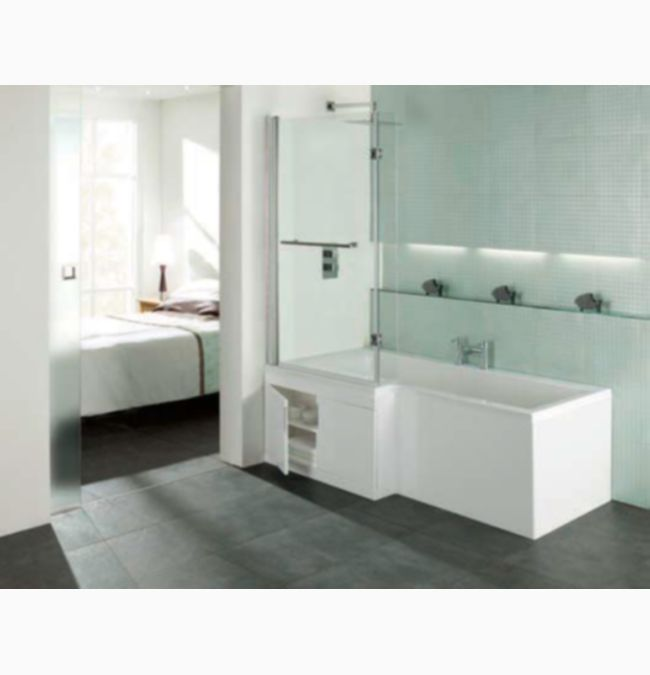 Porto L Shape 1675 x 700mm LH Shower Bath With Storage Panel And Screen