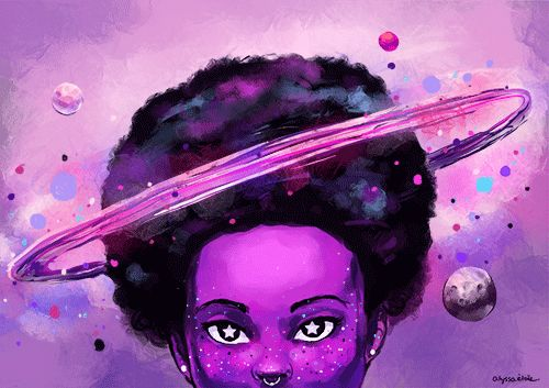 "etoilearts: "" afro so big it has it's own gravitational pull """