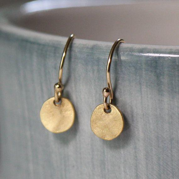 Small Gold Earrings, Simple Short Gold Disc Earrings, Gold Fill Dangle Drop Circle Earrings Everyday Jewelry Dainty Delicate Earrings DOT