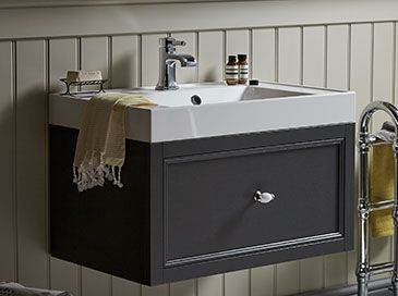 Heritage Bathrooms Wall Hung Caversham Vanity unit with Hampstead Basin. A gorgeous way to incorporate stylish storage without taking up any valuable floorspace.
