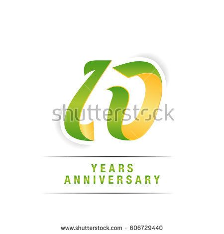 10 Years Green and Yellow  Anniversary  Logo Celebration Isolated on White Background