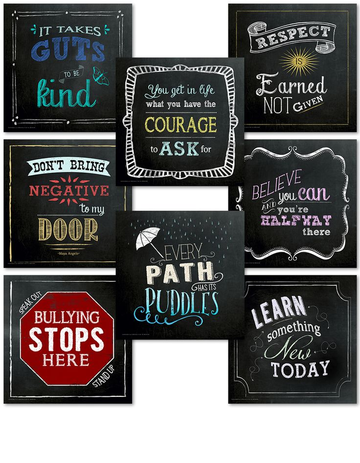 Classroom Character Set. Fun Chalkboard Mini Inspirational Quote Posters - Echo-Lit