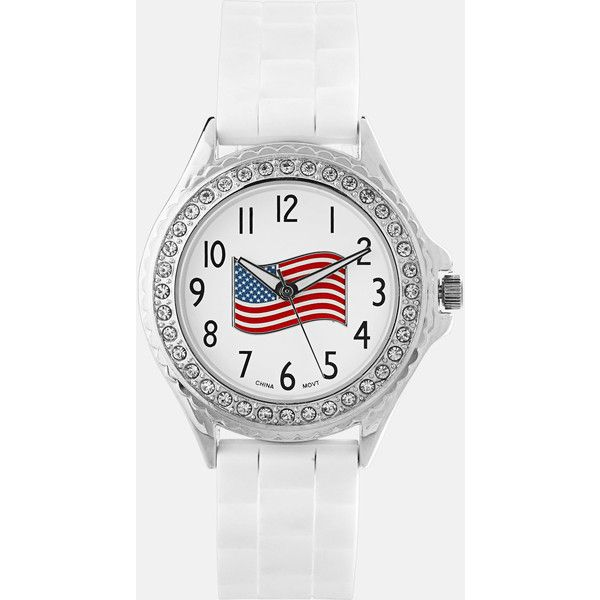 Avenue American Flag Rubber Strap Watch ($2.99) ❤ liked on Polyvore featuring jewelry, watches, plus size, white, stainless steel jewellery, rubber strap watches, white watches, bezel watches and stainless steel jewelry