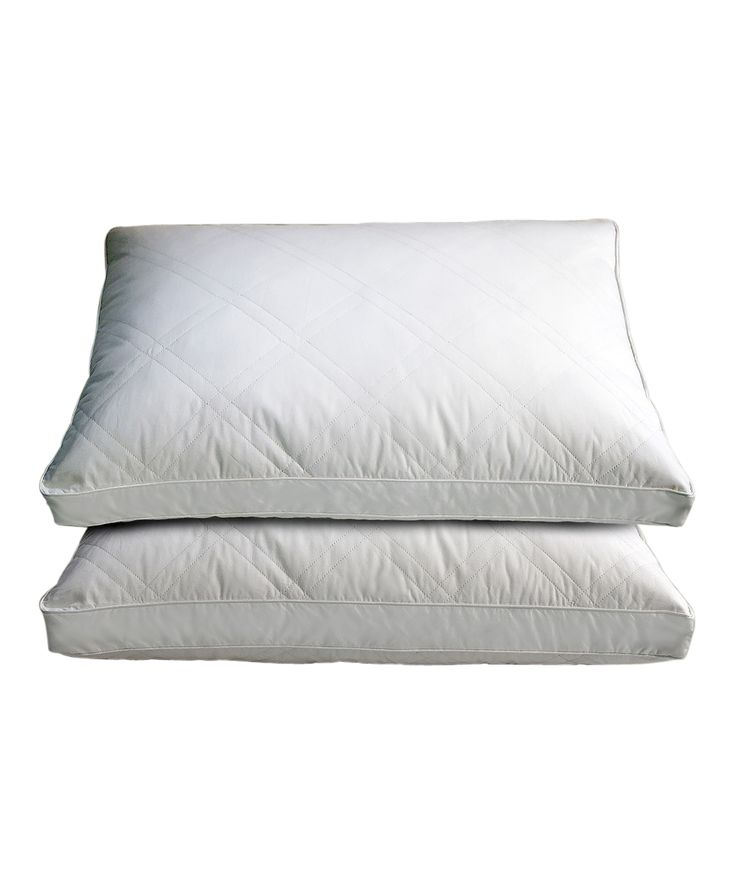 Gusseted Sidewall Quilted Goose Down Pillows - Set of Two