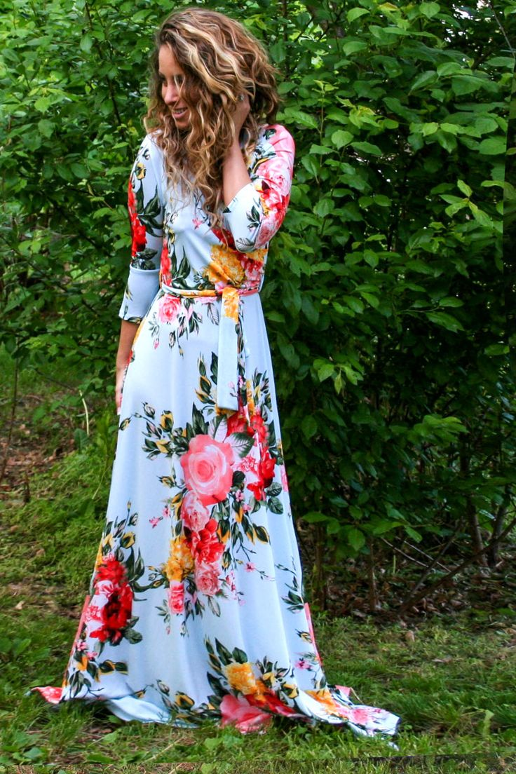 """Charlie"" Baby Blue Floral Wrap Maxi Dress"