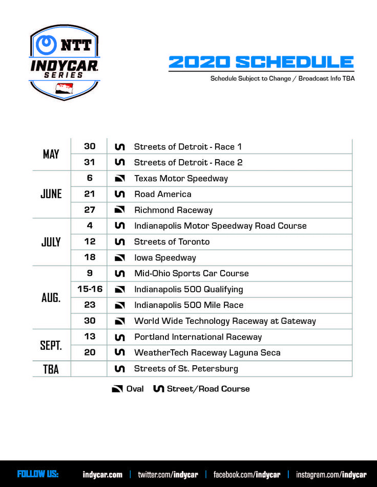 2020 INDYCAR SERIES Schedule [UPDATED] Indianapolis