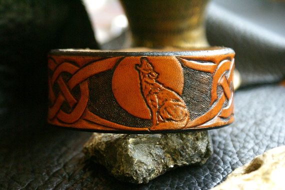Leather Wristband-Celtic Leather Wristband-Wolf Moon Leather…
