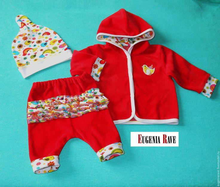 """Купить Комплект для новорожденной """"Птички"""", 7 предметов - на выписку, на выписку из роддома, для новорожденного, для новорожденных, для новорожденной"""