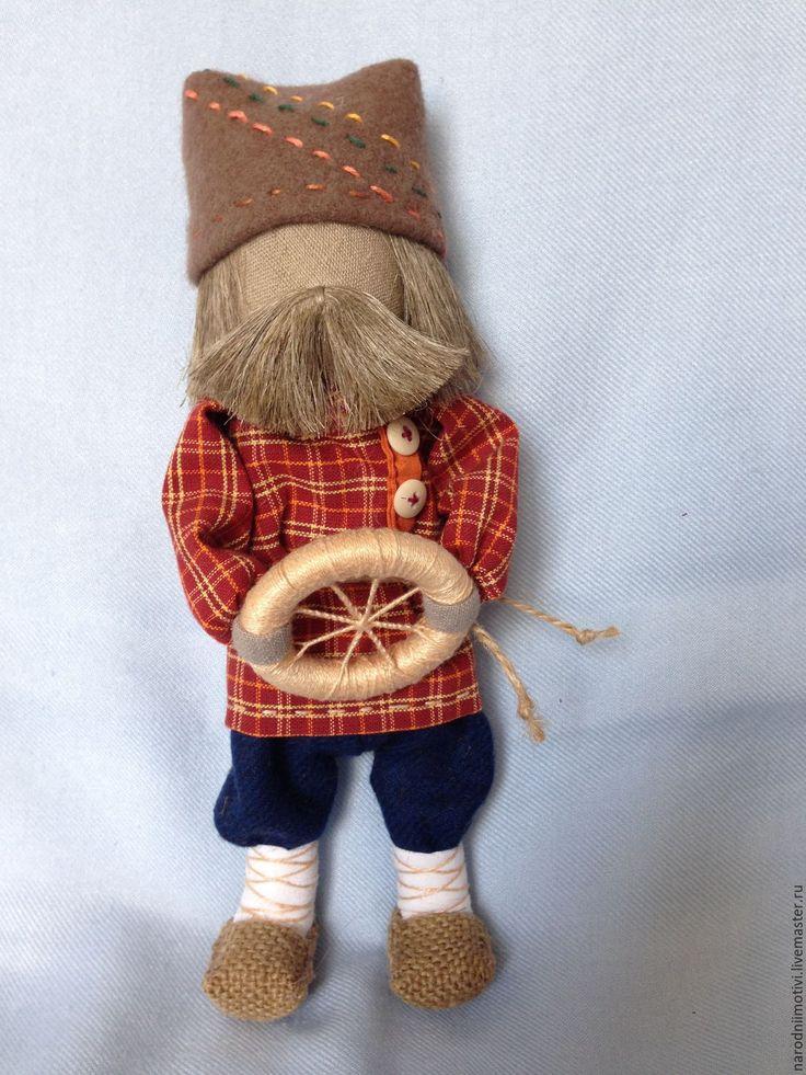 Купить Народная кукла Спиридон-Солнцеворот(синий, красный, коричневый) - коричневый, народная кукла
