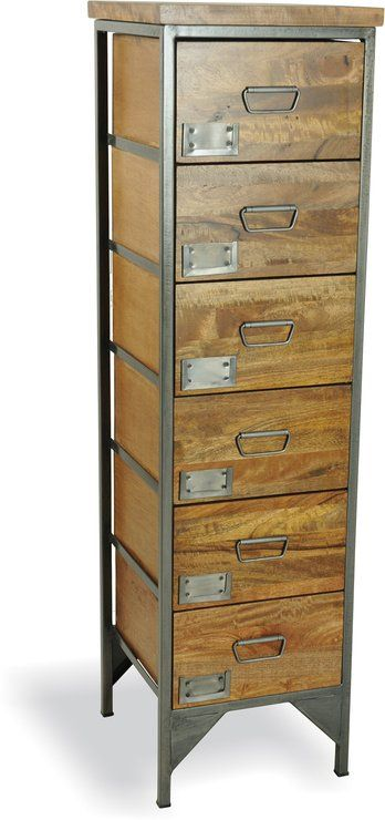 Industrial Vintage Six Drawer Apothecary Tallboy (Chests of drawer)