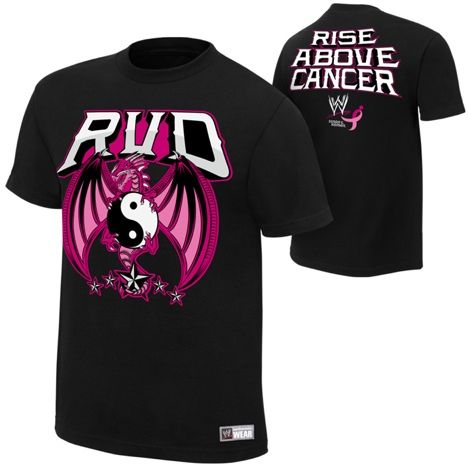 """Rob Van Dam """"Rise Above Cancer"""" Black Authentic T-Shirt - #WWE"""