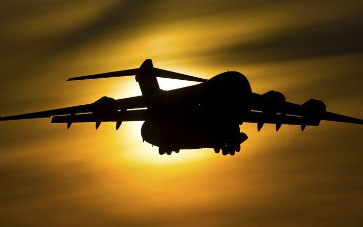 Download imagens 4k, Boeing C-17 Globemaster III, pôr do sol, aeronaves de transporte, avião de carga