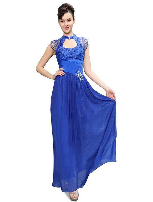 Ever Pretty Exquisite Mandarin Neckline Lace Rhinestones Retro Evening Dress